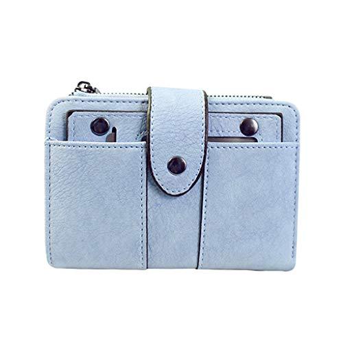 Women's Bifold Leather Credit Card Holder Purse Multi Card Case Wallet Zipper Pocket Detachable 2 in 1Purse Vintage Clutch ()