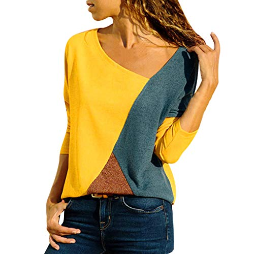 OrchidAmor Women O-Neck Splicing Color Collision Long Sleeves Plus Size Easy Tops Blouse Yellow ()