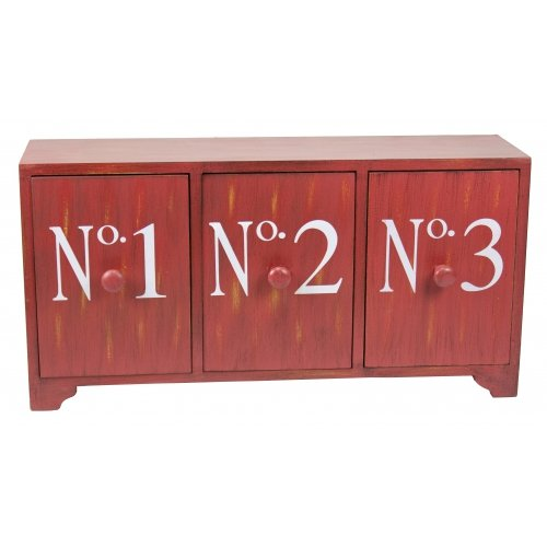 Red Three Drawer Storage Cabinet With Numbers ()