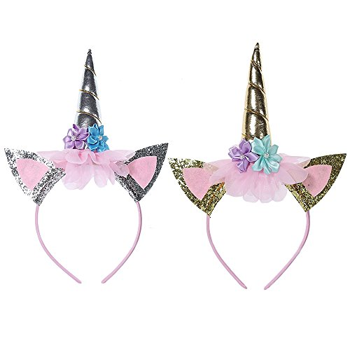 Price comparison product image Children Unicorn Headband Gold Silver Horn Girls Birthday Party Hat Horn Glitter Photo Props Christmas Halloween Party Favor Supplies Cosplay Costume (Gold+Sliver)