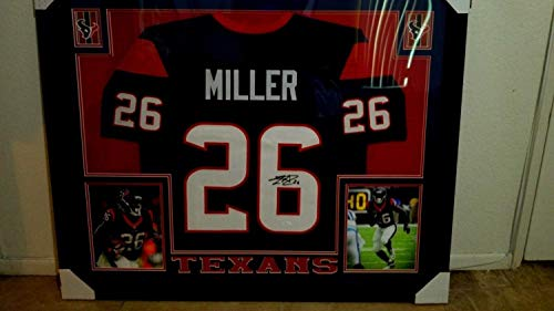 Autographed Signed Lamar Miller Jersey Framed 35X43 Custom Framed Texans Jersey Memorabilia - JSA Authentic ()