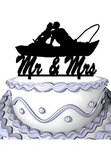 Meijiafei Fishing Couple In Boat Kissing Script Mr And Mrs Wedding Cake Topper