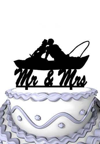 Meijiafei Fishing Couple in Boat Kissing Script Mr. and Mrs. Wedding Cake Topper