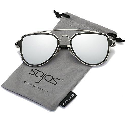 9116039caf SOJOS Fashion Aviator Unisex Sunglasses Flat Mirrored Lens Double Bridge  SJ1051