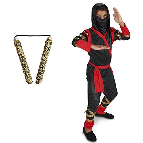 [Black & Red Ninja Child Costume Small (4-6) Toy Nunchuck Bundle Set] (Black Martial Arts Costume)