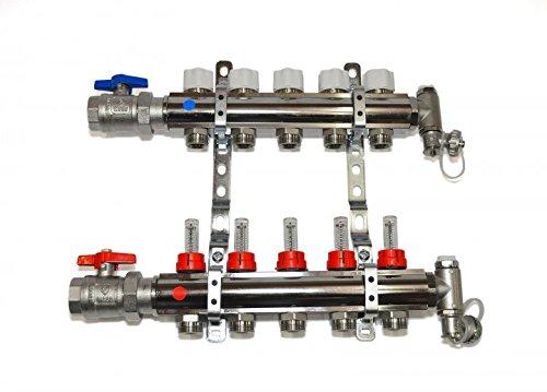 Fussbodenheizung Fl/ächenheizung Heizkreisverteiler HKV-5 Kreise Messing vernickelt mit Durchflu/ßmengenmesser 1 Anschlussset