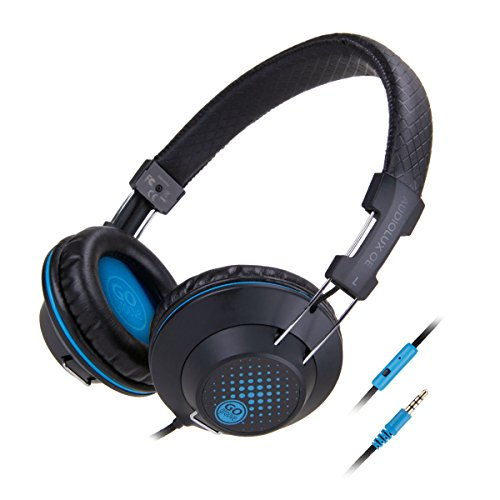 GOgroove AudioLUX Over Ear Headphones with Built-In Microphone - Noise Isolating, In-Line Playback Controls, Braided Nylon Cable & Adjustable Headband, Portable Design - Black (REFURBISHED)