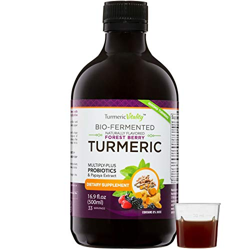 Liquid Turmeric Curcumin Supplement with Probiotics & Papaya Digestive Enzymes   Joint Pain & Digestion Support with Ginger and Black Pepper - 1000mg