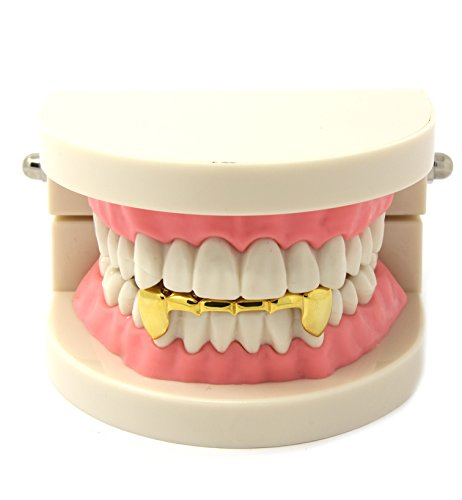 (Custom Fit 14k Gold Plated Hip Hop Half Teeth Grillz Caps Lower Bottom Grill Set)