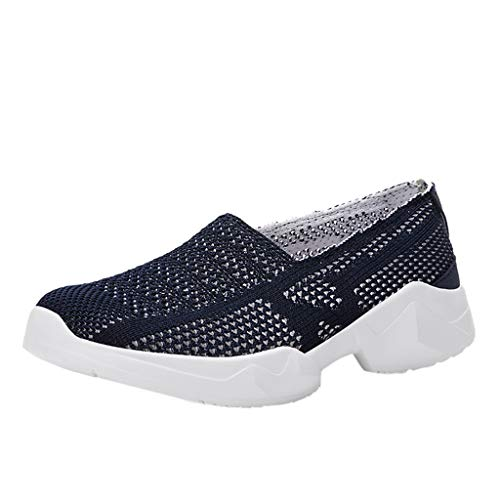 Bralonees Breathable Hollow Mesh Shoes for Couples Lightweight Casual with Soft Bottom Unisex Flat Comfortable Running Dark Blue