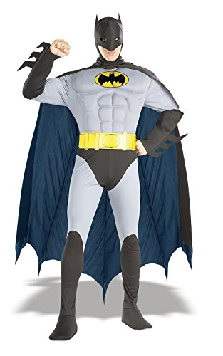[Rubie's Costume DC Comics Adult Deluxe Muscle Chest The Batman, Gray, Small Costume] (Iconic Movie Characters Costumes)