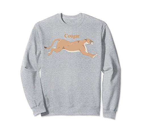 Unisex Cougar Running Sweatshirt Big Puma Cat Lover Large Heather Grey