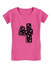4 Kids Birthday - Superstar 4 Years Old Cute Toddler/Kids Girls' Fitted T-Shirt