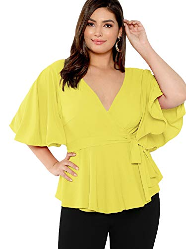 Romwe Women's Plus Size Flutter Sleeve V Neck Knot Belted Surplice Wrap Blouse Yellow-2 3X Plus
