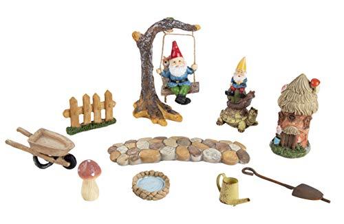 Juvale Fairy Garden Accessories Kit - 10-Piece Mini Gnome Decor Set, Gnome and Mushroom Figurine Indoor Outdoor Garden Decorations, Yard, Lawn, Housewarming, Wedding Gift (Accessory Garden Kit Gnome)