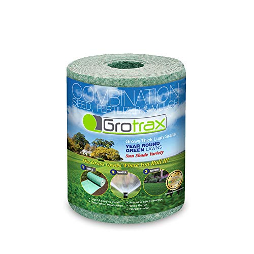 Grotrax Patch and Repair Year-Round Green Grass Seed Mixture Mat Roll, (20 Square Feet)