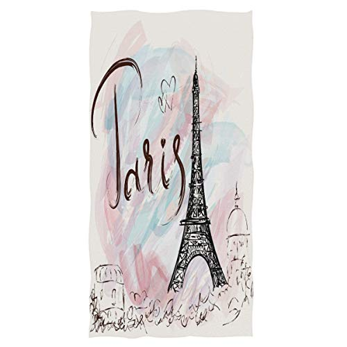 (Wamika Eiffel Tower Large Hand Towels Romantic Paris Pink Watercolor Bath Towel Ultra Soft Highly Absorbent Multipurpose Bathroom Towel for Hand,Face,Gym,Sports and Spa Home Decor, 16x30 in)
