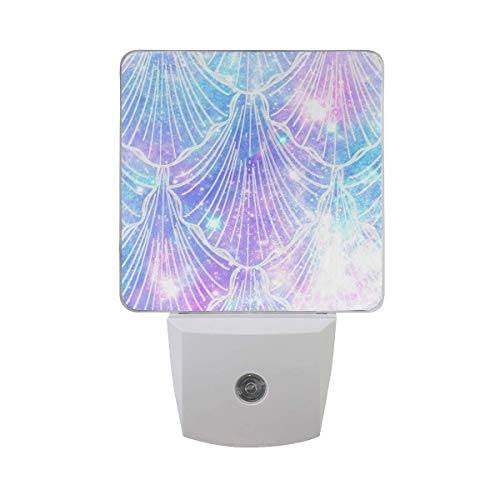 DIY Big Printing Galaxy Mermaid Scale Patterns on Plug-in LED Night Light Warm White Night Light for Bedroom Bathroom Hallway Staircase(0.5W 2-Pack)]()