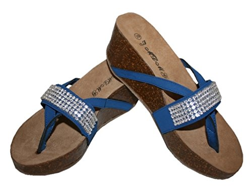 avec taille strass 37 034 Sandale bleu saphir 0q6Hd0aw