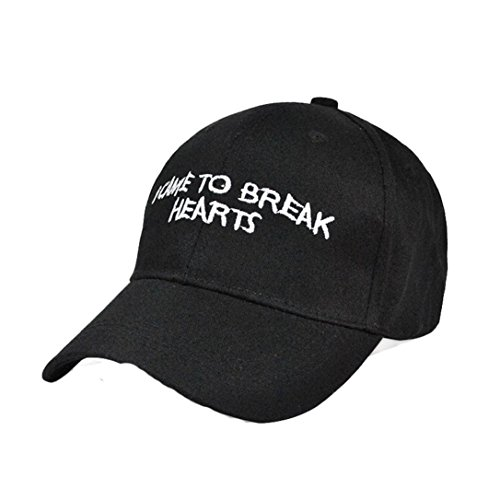 [Winhurn I Came to Break Hearts Unisex Adjustable Baseball Cap Hiphop Snapback Hat (Black)] (Hip Hop Felt Hat With Feather)