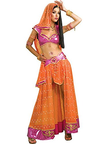 [Secret Wishes Sexy Bollywood Dancer Costume, Pink/Orange, Medium] (Bollywood Dress Up Costumes)
