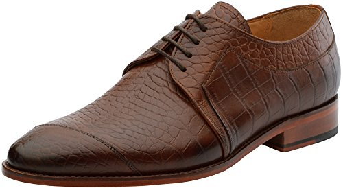 3DM Lifestyle Men's Formal Modern Classic Handcrafted Crocodile Embossed Calfskin Lace Up Leather Lined Oxford Dress Shoes US 9 - 9.5 Medium Brown