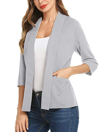 00fc98df34 Women s Open Front Long Sleeve Work Office Blazer Jacket Cardigan Casual  Basic OL Blazer Suit (Grey