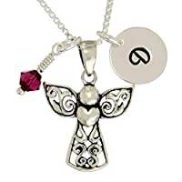 Personalized 925 Sterling Silver Guardian Angel Pendant Initial Crystal Birthstone Custom Necklace