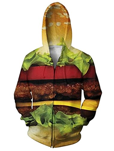 RAISEVERN Mens Funny Food Hamburger Hoodie Fashion Casual Zip Up Hooded Pullover Sweater