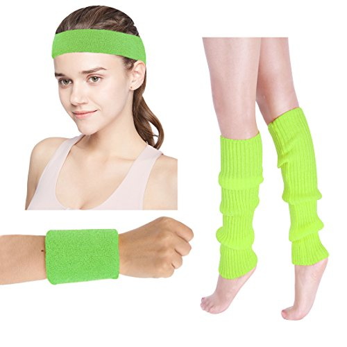 Women's 80s Costumes Accessories Neon Headband Wristband Leg Warmers Set for 1980s Theme Party Supplies(Green) -