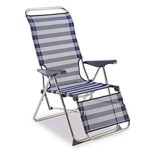 🥇 Solenny 50001072735205 –  Tumbona Relax 5 Posciones  con Respaldo Anatómico Azul y Blanco