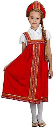 Russian Heritage Girls Costume Outfit Traditional Clothing Skirt+Hat (4~8 Years Old, -