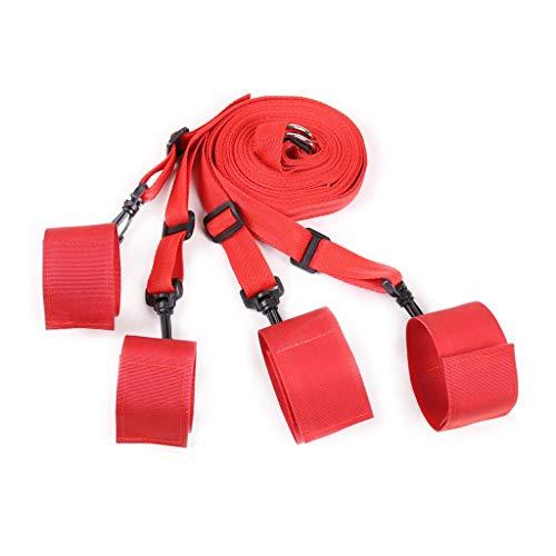 S-M Bedding Games Fē`t-i`s`h Nylon Exquisite Design Adjustable Straps S+é+x Toys for Cóuples (Red)