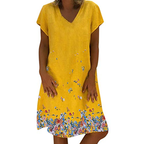 Womens Vintage Linen Dresses Solid Casual Loose Short Sleeve V-Neck Summer Dress,(S-5XL) (M, Yellow-3) ()