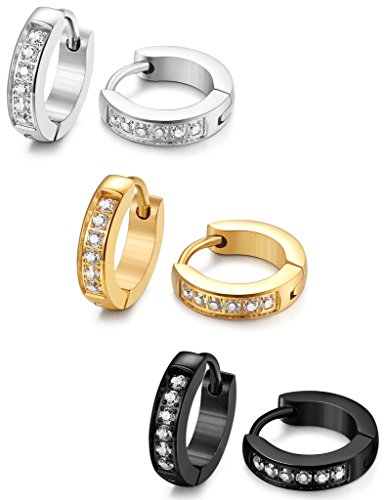 FIBO STEEL 13MM Stainless Steel Small Hoop Earrings for Men Women Huggie Earrings CZ Inlaid 3 Pairs (Shiny Stainless Earrings Steel)