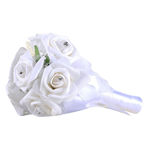 YLCOYO Flowers, Crystal Roses Pearl Bridesmaid Wedding Bouquet Bridal Artificial Silk Flowers (White) ()