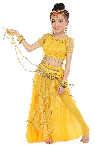 (Girls Belly Dance Top Skirt Set Halloween Costume with Head Veil,Waist Chain)