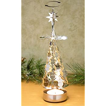 spinning christmas tree candle holder with snowmen scandinavian design - Christmas Tree Holder