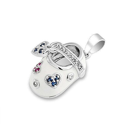 Bling Jewelry Sterling Silver CZ Red White and Blue Enamel Baby Shoe Pendant