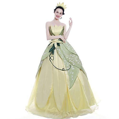 iCos Girl Hand Sewing Princess Tiana Dress Embroidery Layered Costume Party Ball Gown