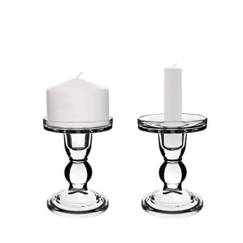 Sidith Glass Hurricane Candle Holder, Clear Glass Taper Candlesticks (4.5