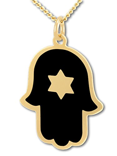 (Metal Art Jewelry Gold Plated Hamsa and Star of David Necklace - Black Enamel Pendant, 17.5