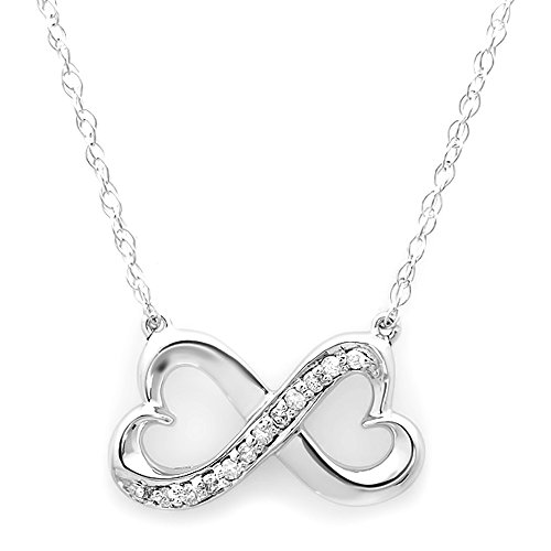 0.10 Carat (ctw) 14K White Gold White Diamond Ladies Double Heart Infinity Love Pendant 1/10 - White Ladys Chain Gold