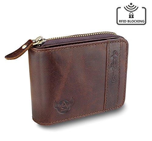 Mens RFID Blocking Wallets Zipper Leather Wallet for Men Bifold RFID Card Holder