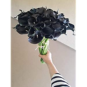 Real Touch Latex Calla Lily Bunch Artificial Spring Flowers for Home Decor, Wedding Bouquets, and centerpieces (18 PCS) (Black Velvet) 3