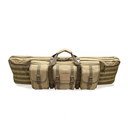 YONGCUN Gun Bag Gun Case Rifle Bag Tactical Bag Double Carbine Cases Long Gun Case Bag Tactical Gun Bag 42inch Tan 600D Waterproof PVC ()