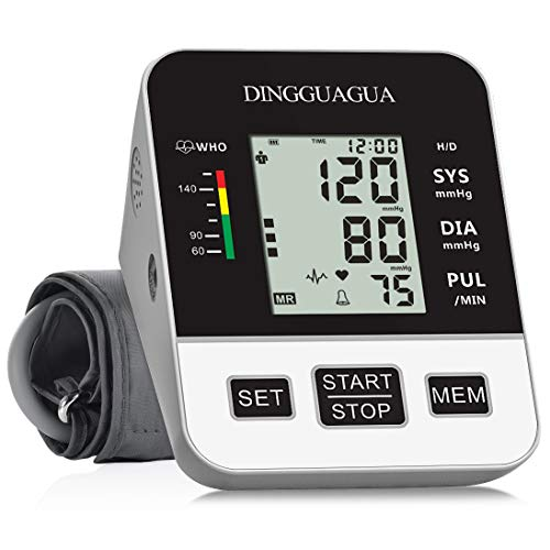 Blood Pressure Monitor Accurate Automatic Upper Arm BP Machine & Pulse Rate Monitoring Meter with Wide-Range Cuff, 2×99 Memories, Large LCD Display- Device Bag & 4AA Included