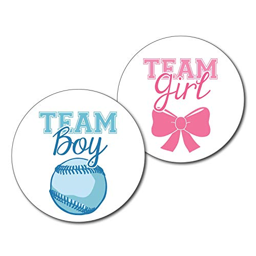 36 2.5-inch Baseball and Bow Stickers - Team Boy and Girl Gender Reveal Party Labels