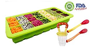 HEALTHY homemade Baby food kit: 21 portions storage container tray / Freezer (with lid) with a Feeder and FREE 2 heat sensitive spoons