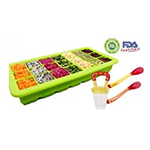 Healthy homemade Baby food kit: 21 portions storage tray / freezer (with lid) with a Feeder and 2 heat sensitive spoons